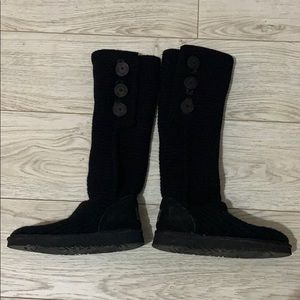 Black cable knit Ugg boots